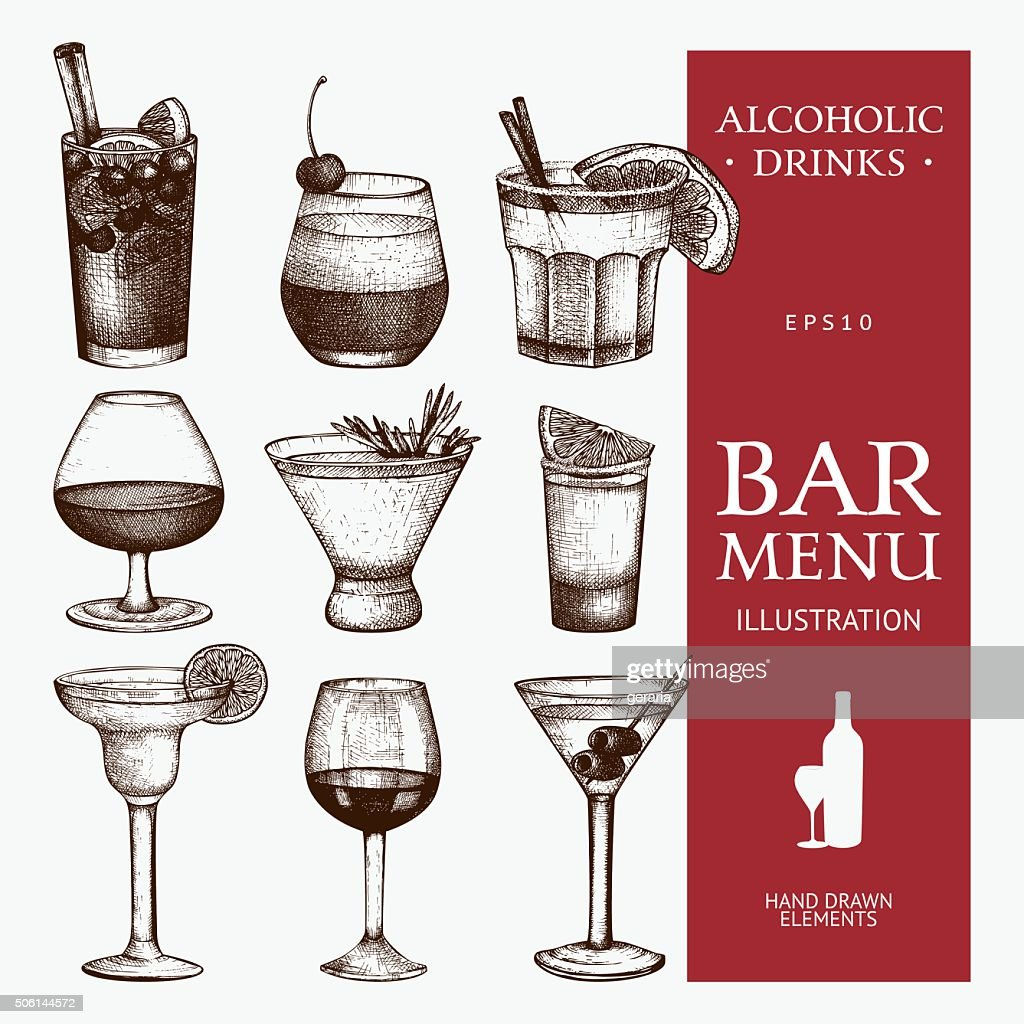 Vector set of vintage alcoholic drinks sketch.