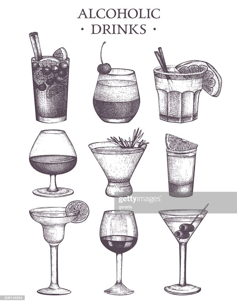 Vector set of vintage alcoholic drinks sketch.