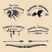 Vector set of vintage camping signs. Retro icons collection of outdoor adventures with Indian tribal elements.