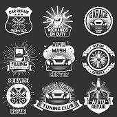Vector set of vintage car service labels badges