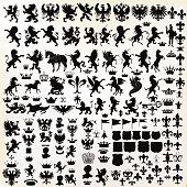Vector set of vintage heraldic elements for design