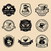 Vector set of vintage hipster coffee badges. Modern cafe shop, restaurant icons, emblems collection.