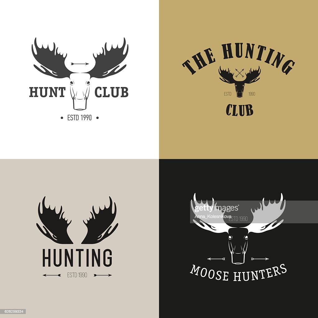 Vector set of vintage hunting emblems