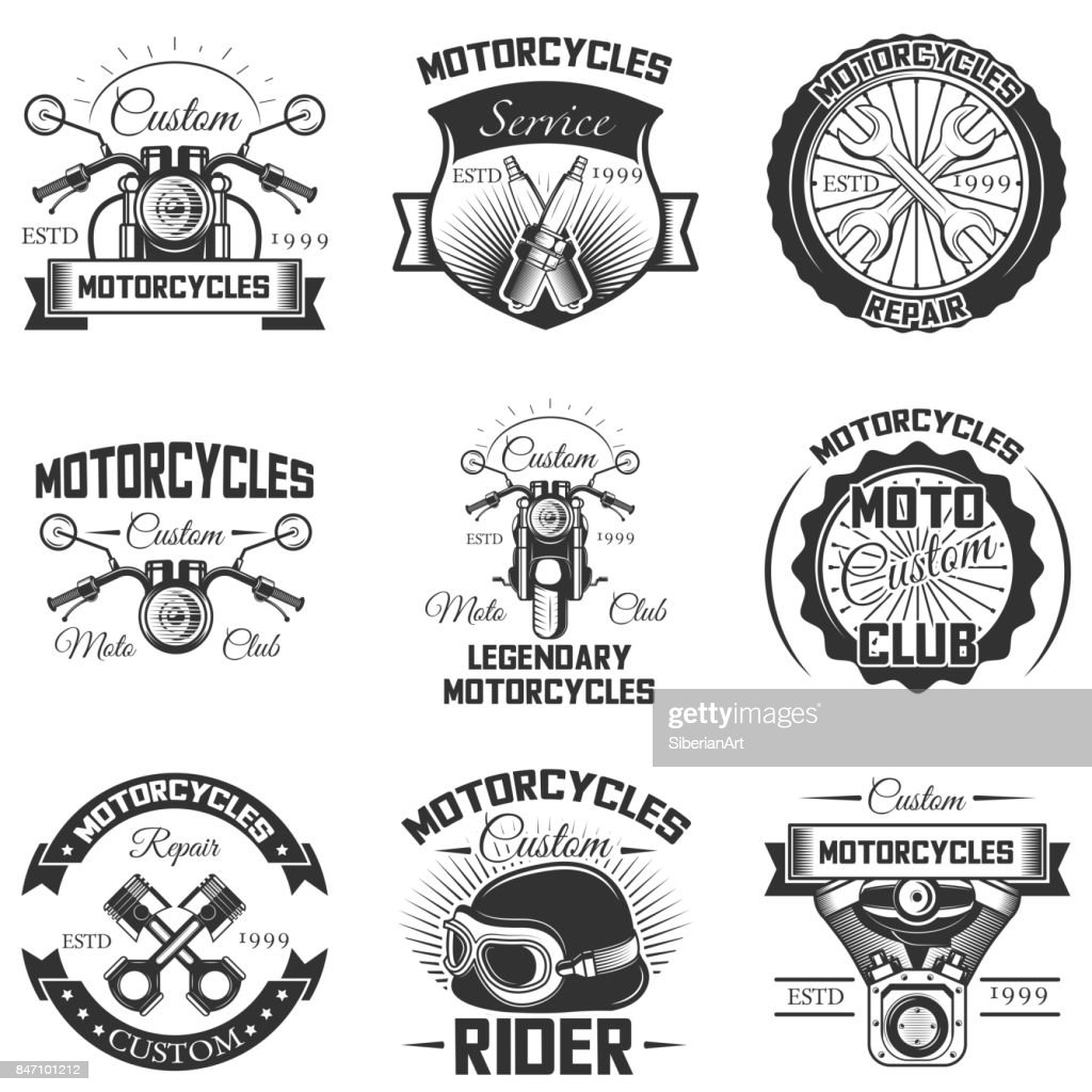 Vector set of vintage motorcycle emblems, labels, badges and s