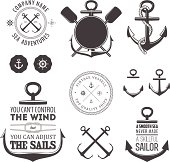 Vector set of vintage nautical icons