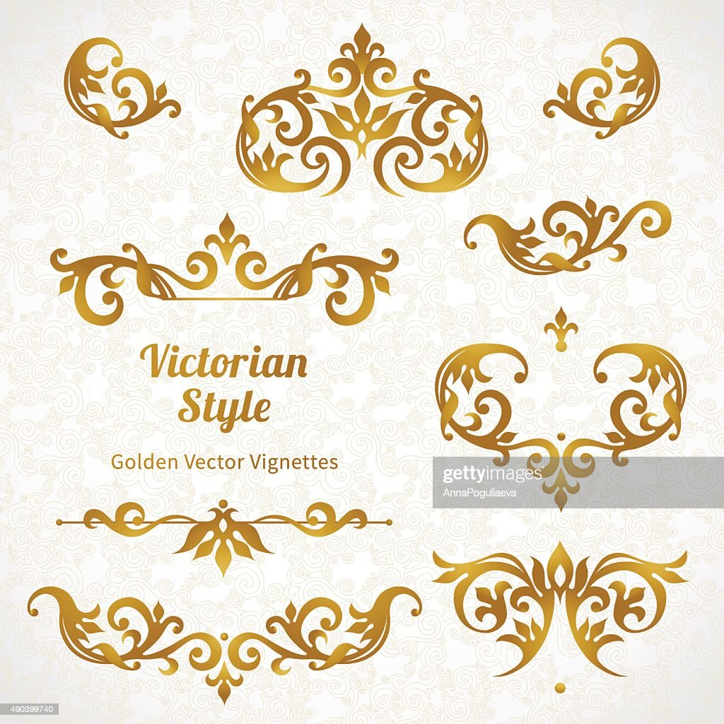 Vector set of vintage ornaments in Victorian style.