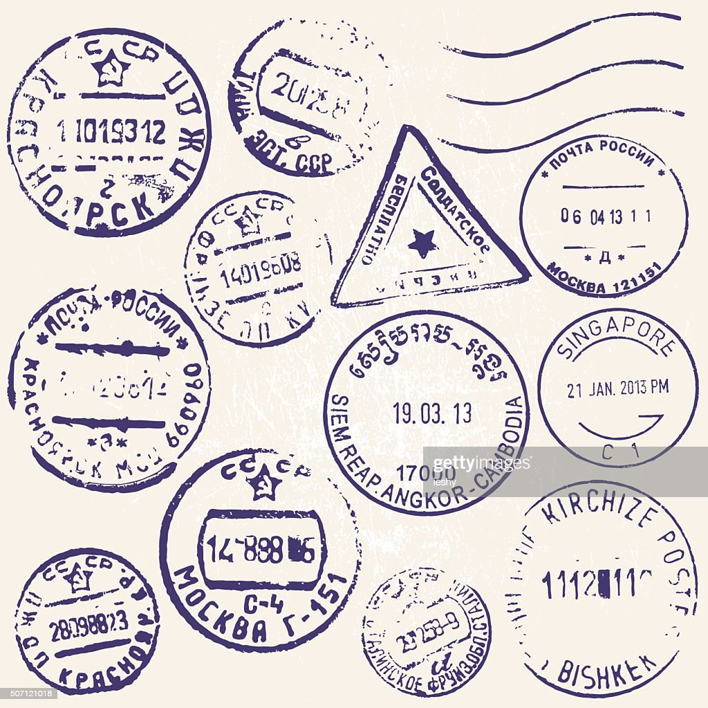 Vector set of vintage postage stamps from many countries