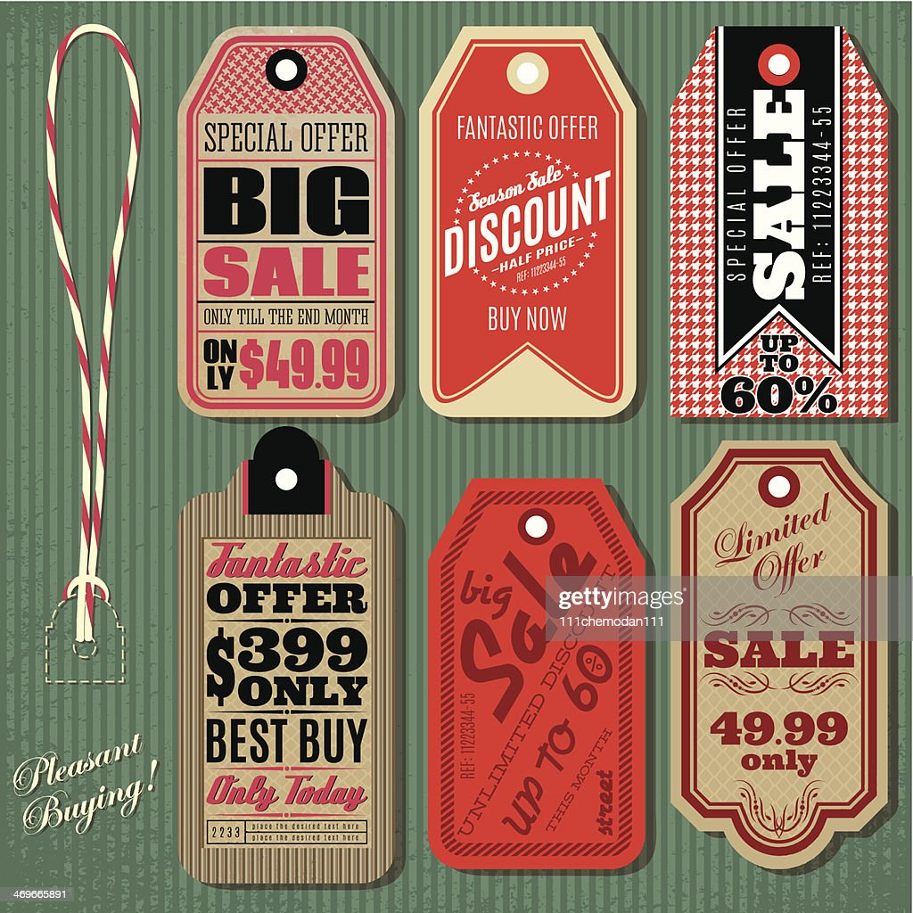 vector set of Vintage Style Sale Tags