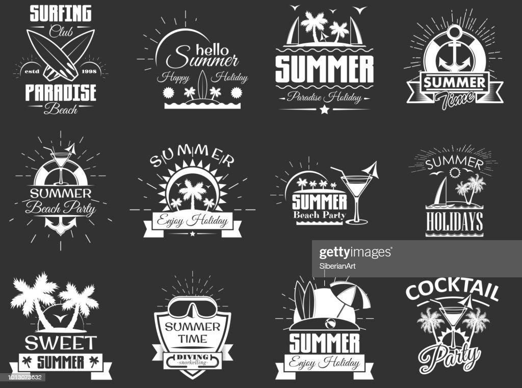 Vector set of vintage summertime labels, emblems