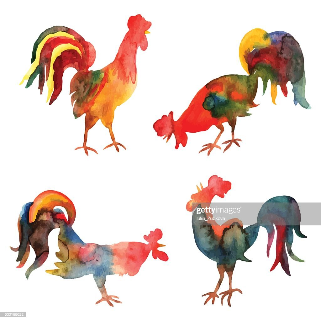 Vector set of watercolor fire cocks on white background.