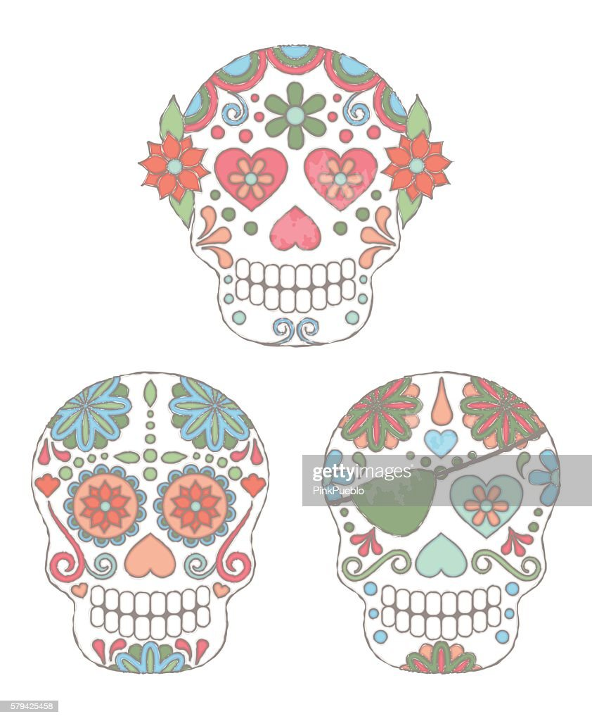 Vector Set of Watercolor Style Day of the Dead Skulls