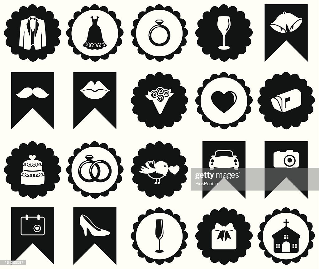 Vector Set of Wedding or Valentine's Day Icons and Badges