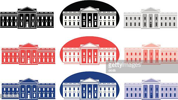 vector set of white house icons - president stock illustrations, clip art, cartoons, & icons