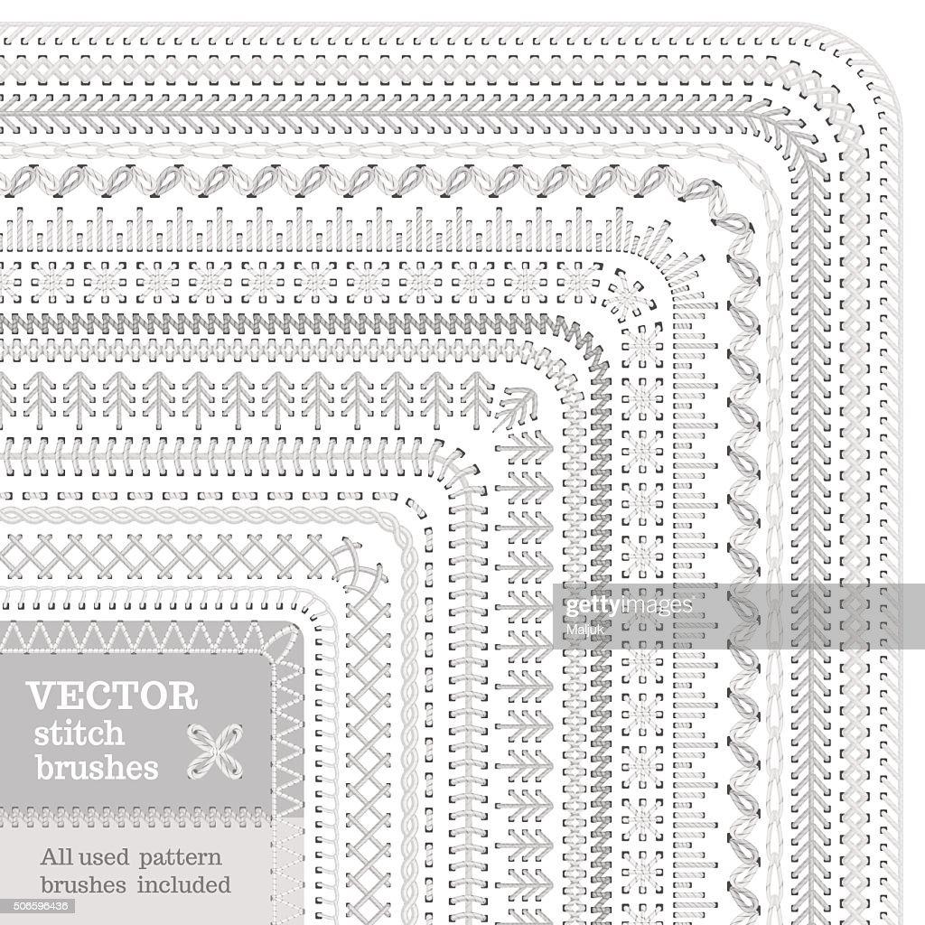 Vector set of white stitch brushes.