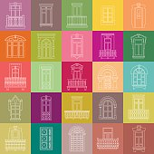 Vector set of white thin line icons of vintage decorative doors, windows, balconies on colorful squares.