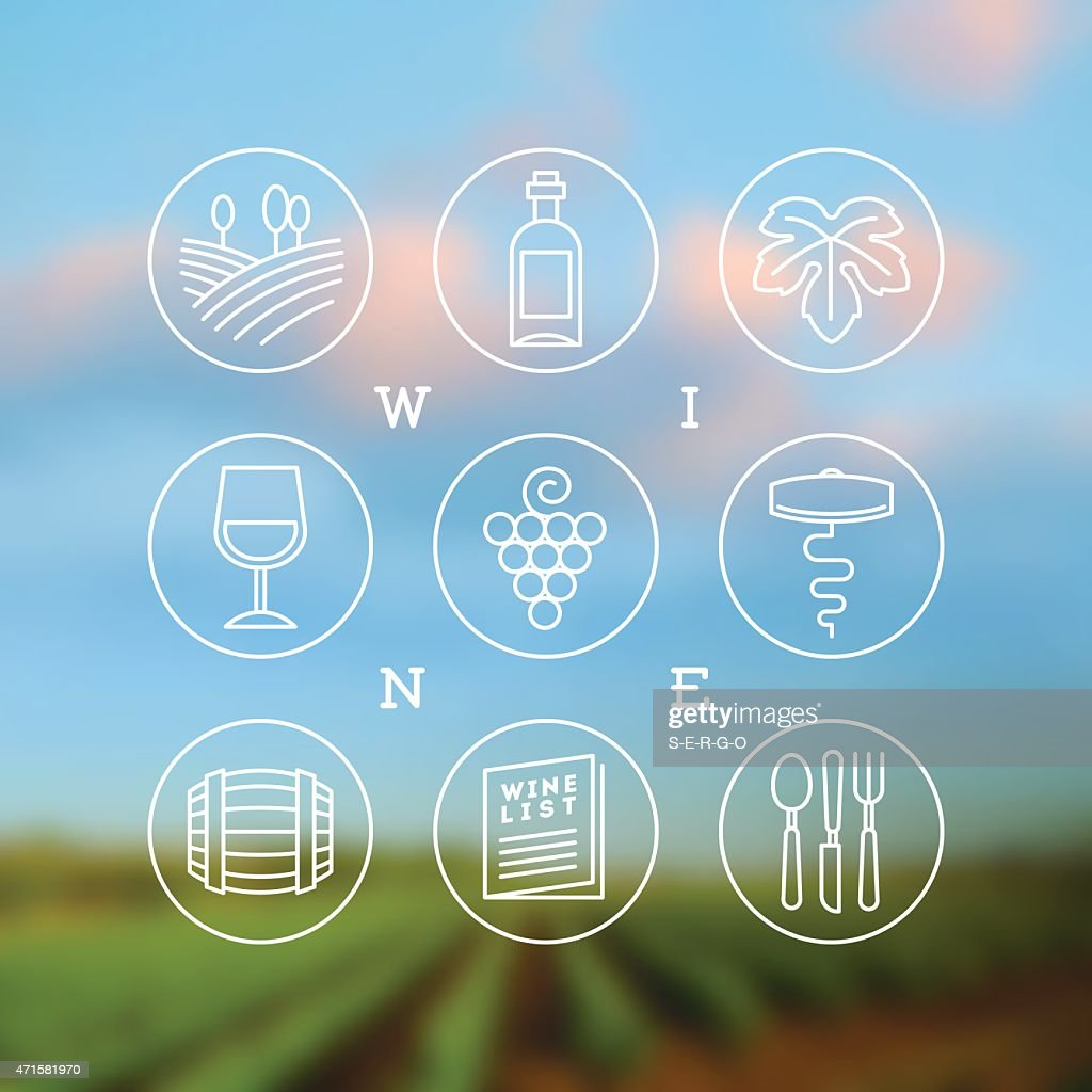 Vector set of wine and winemaking icons and emblems