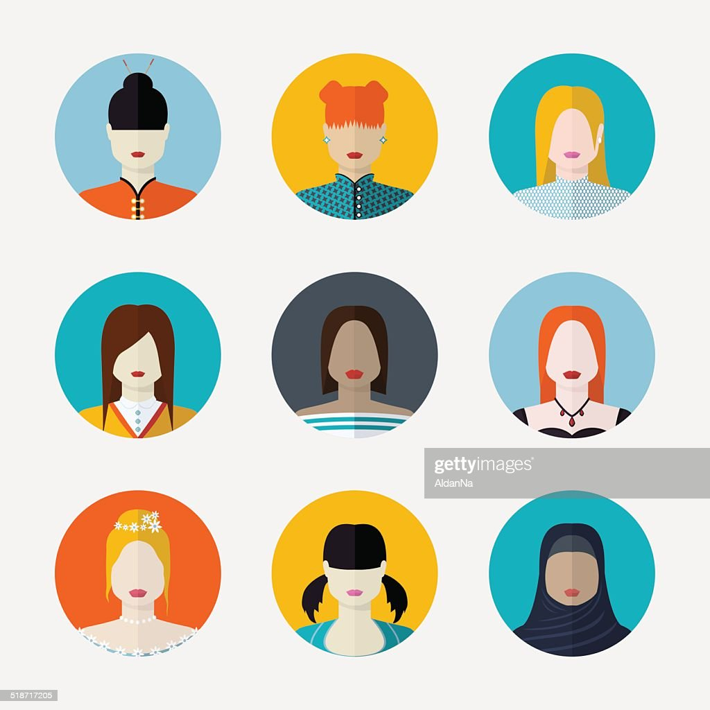 Vector set  of women avatars  in flat style different nationalit
