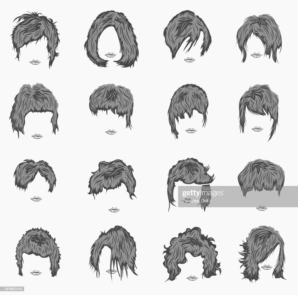 vector set of women hairstyles