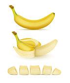 Vector set of yellow bananas, sweet tropical fruit