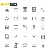 Vector set office line icons