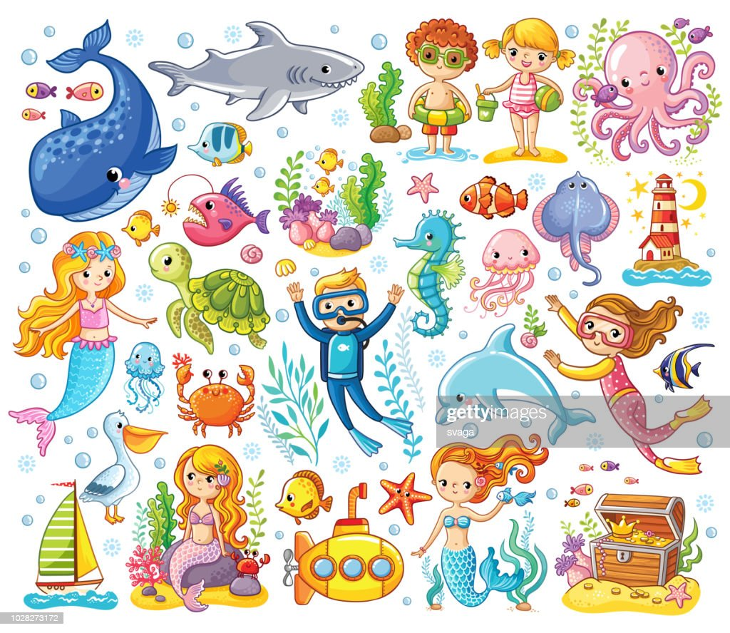 Vector set on a sea theme in a children's style.