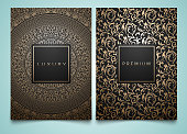 Vector set packaging templates with different golden floral damask texture for luxury product. Trendy design for icon