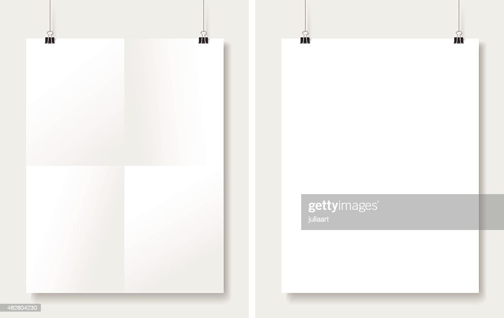 Vector set posters hanging on white wall