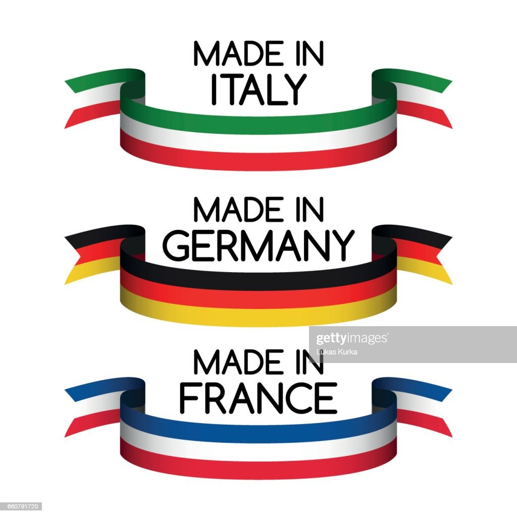 Vector set ribbons Made in Germany, Made in France and Made in Italy isolated on white background for your products, infographic, web and apps