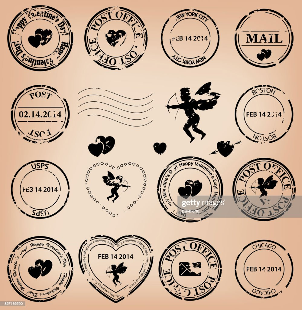 vector set - romantic grungy post stamps for valentine day