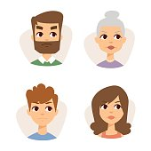 Vector set sad emoticons face of people fear shock surprise avatars characters illustration