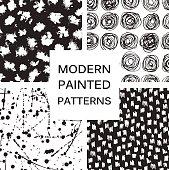 Vector set. Seamless trendy modern brush patterns.