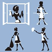 Vector set - silhouettes girl cleaning