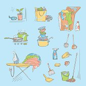 Vector set sketch color illustration on a blue background of objects and situations domestic work. Unwashed dishes and not ironed linen, items and accessories for cleaning, buy food and cooking.