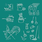 Vector set sketch illustration on a dark background of objects and situations housework. Unwashed dishes and not ironed linen, items and accessories for cleaning, buy food and cooking.