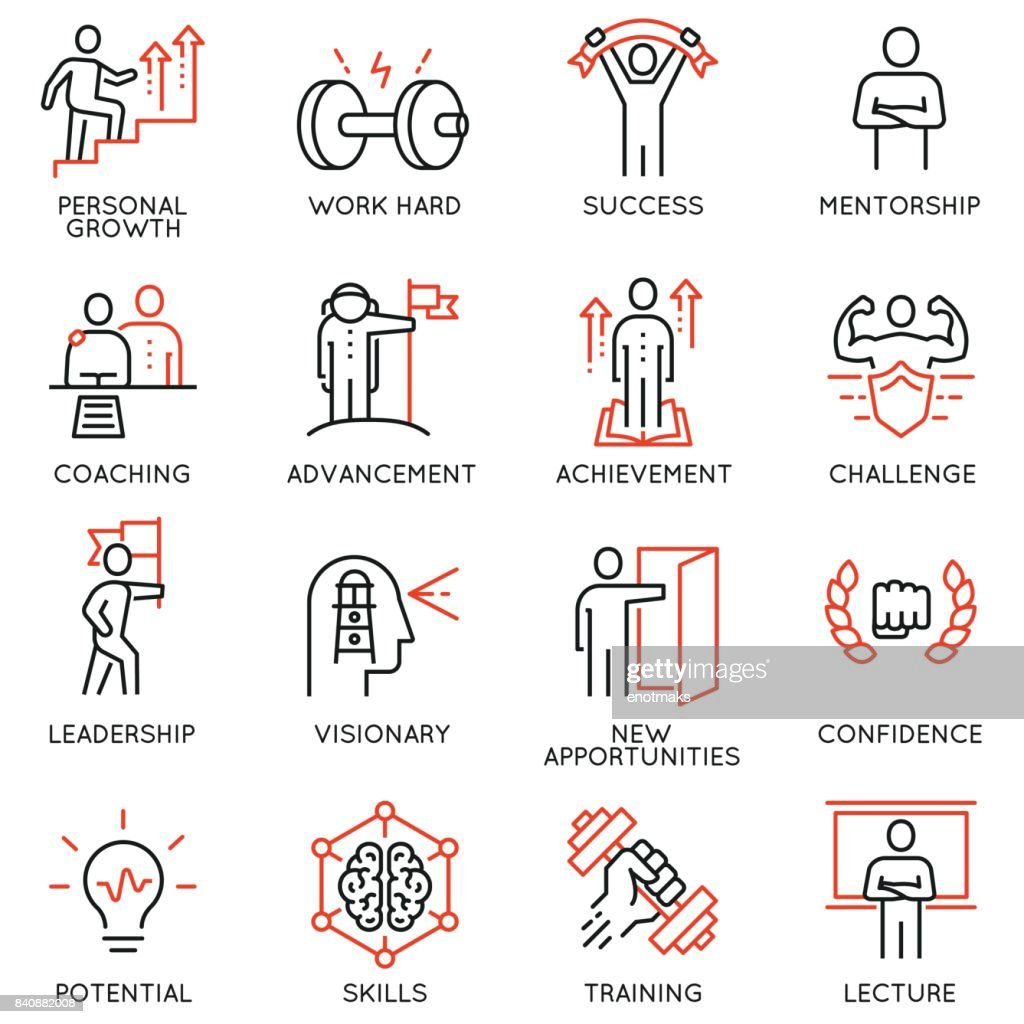 Vector set thin icons related to career progress, coaching, business people training, tutorship and professional consulting service. Mono line pictograms and infographics design elements - part 4