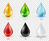 Vector set  transparent drops of various most common liquid substances