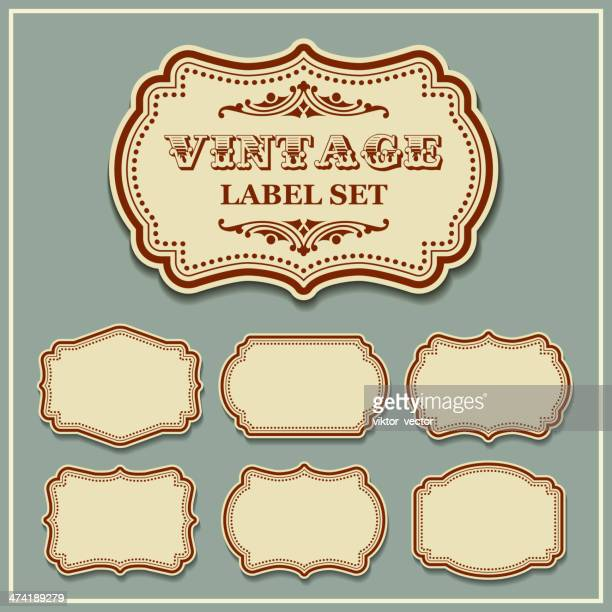 vector set vintage labels - ornate stock illustrations, clip art, cartoons, & icons