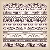Vector set vintage ornate border frame with retro ornament patte