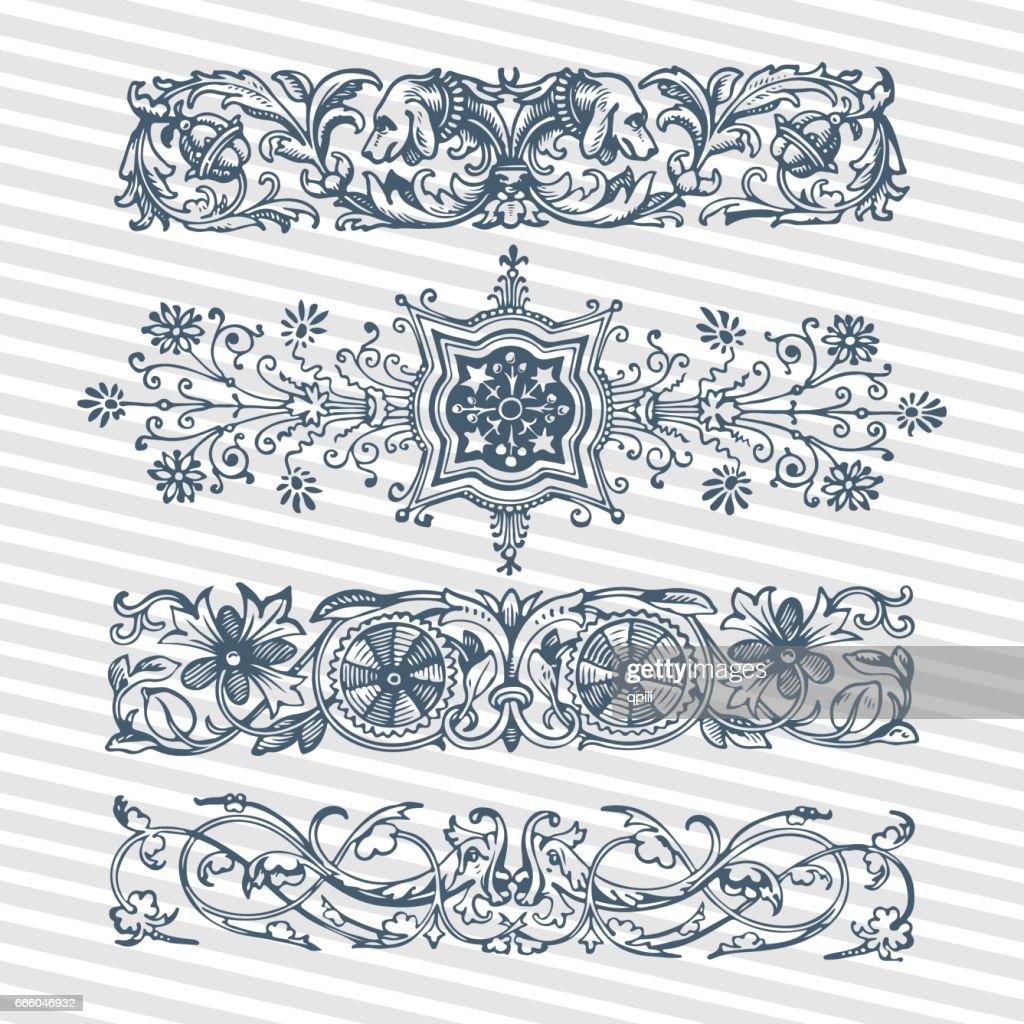 Vector set vintage ornate frames with retro ornament pattern in antique baroque, roman, arabic style decorative calligraphy design