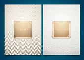 Vector set white packaging templates with different golden linear geometric pattern texture for luxury product. Trendy design for symbol