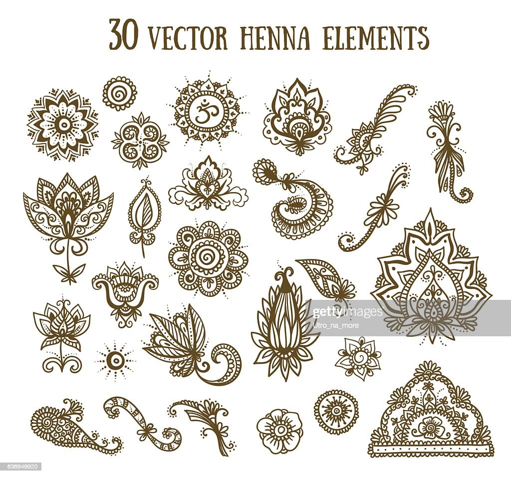 Vector set with abstract floral elements in indian style.