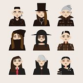 Vector set with avatars of gothic man