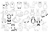 Vector set with baby animals . Outline cartoon illustrations