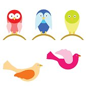 vector set with cartoon birds in multiple colors