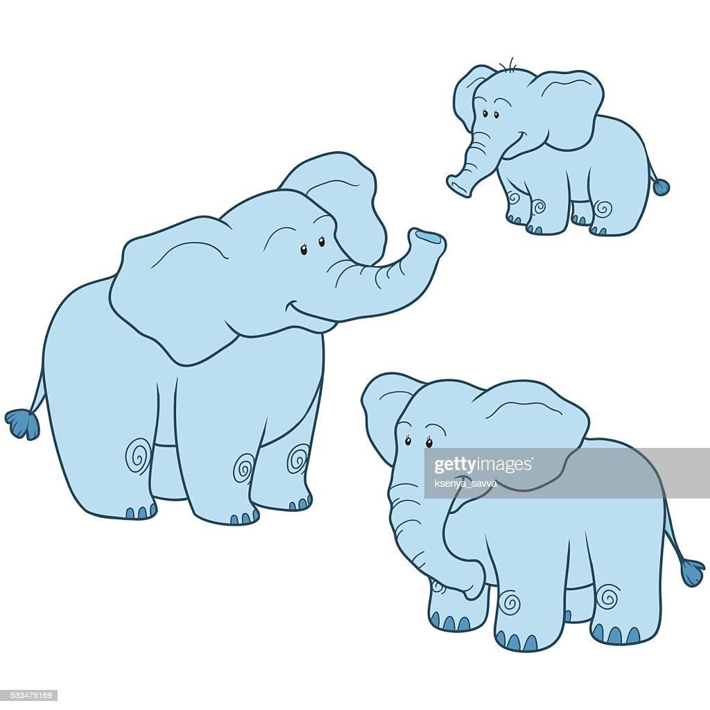 Vector set with cute blue elephants family