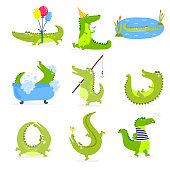 Vector set with cute cartoon crocodiles.
