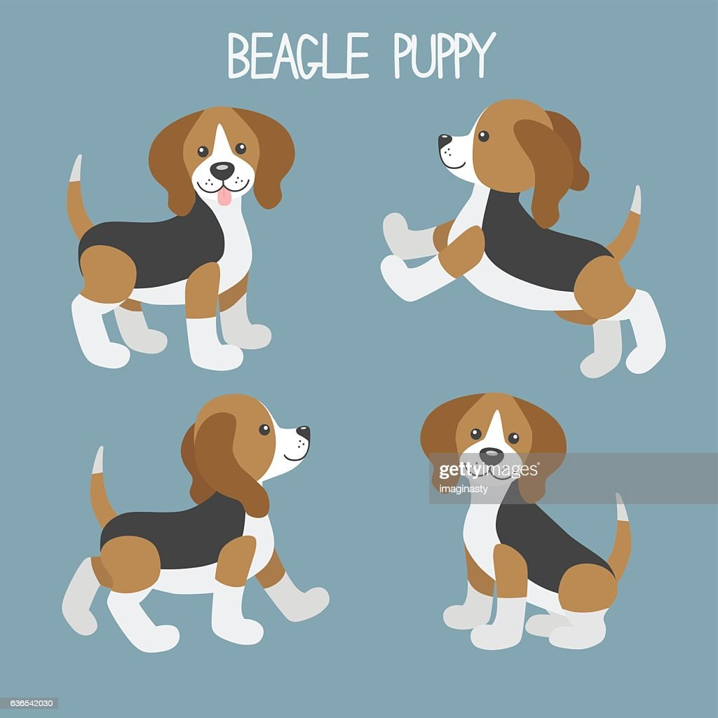 Vector set with cute cartoon dog puppies