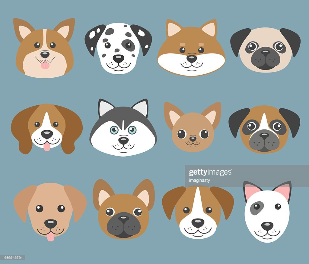 Vector set with cute cartoon dog puppies.Dogs breeds