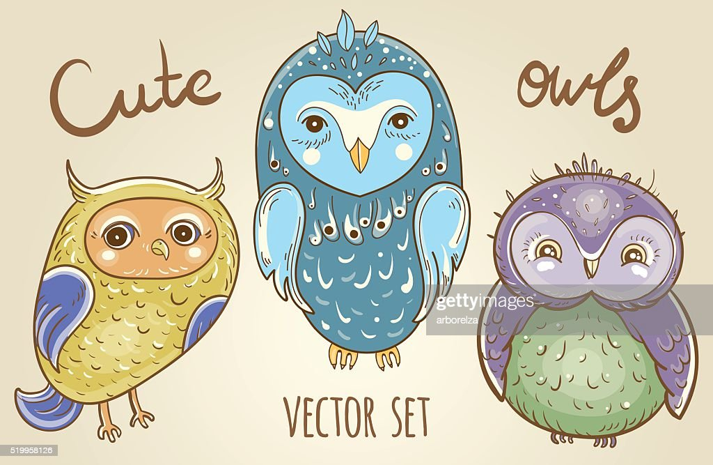 Vector set with cute owls