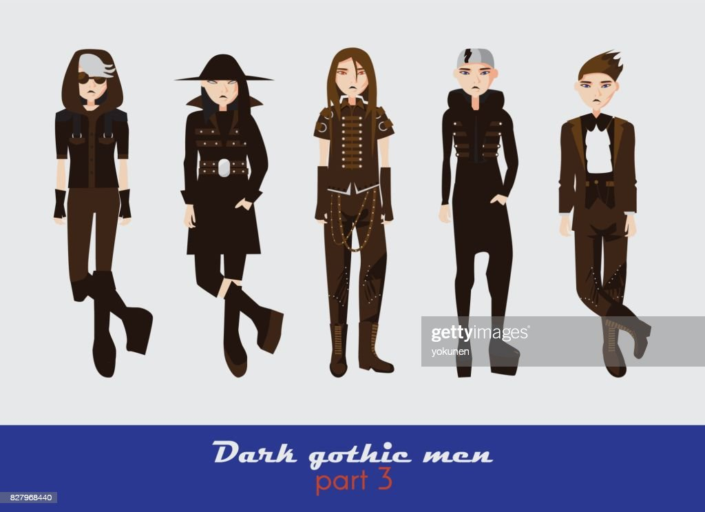 Vector set with dark gothic young men.